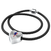 Lacrosse USA Flag Heart Charm Leather Bracelet, Gifts for Lacrosse Players Sports Lovers