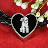 Poodle Heart Charm Leather Bracelet, Cute Gift for Cute Dog Lovers