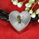 Grasshopper Heart Charm Leather Bracelet, Dabbing Gifts for Insect Bug Lovers