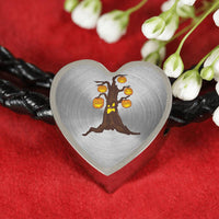 Halloween Pumpkin Tree Heart Charm Leather Bracelet, Gifts for Candy Treat Scary Trick