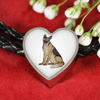 German Shepherd Heart Charm Leather Bracelet, Cute Gift for Dog Lovers