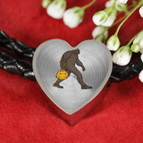 Halloween Bigfoot Sasquatch Pumpkin Heart Charm Leather Bracelet, Gifts for Costume Party