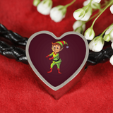 Elf Heart Charm Leather Bracelet, Floss Dancing Gifts for Dance Lovers