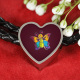 Butterfly Heart Charm Leather Bracelet, Moth Lover Gifts
