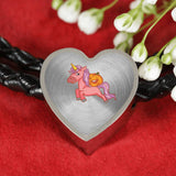 Halloween Unicorn Pumpkin Heart Charm Leather Bracelet, Gifts for Trick Treat Party