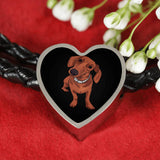Dachshund Charm Leather Bracelet, Funny Gift for Cute Dog Lovers