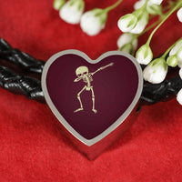 Halloween Skeleton Dabbing Heart Charm Leather Bracelet, Gifts for Trick Treat Skull Party