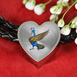 Peacock Heart Charm Leather Bracelet, Bird Lover Gifts