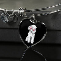 Poodle Heart Pendant Necklace Bangle, Cute Gift for Cute Dog Lovers