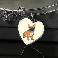French Bulldog Heart Pendant Necklace Bangle, Cute Gift for Cute Dog Lovers