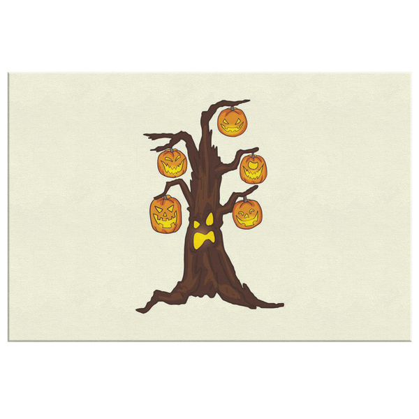 Halloween Pumpkin Tree Wall Decor Canvas, Gifts for Candy Treat Scary Trick