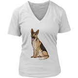 German Shepherd V Neck Shirts for Women, Funny Gift for Dog Lovers