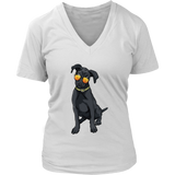 Black Labrador V Neck Shirts for Women, Cute Gift for Cute Dog Lovers