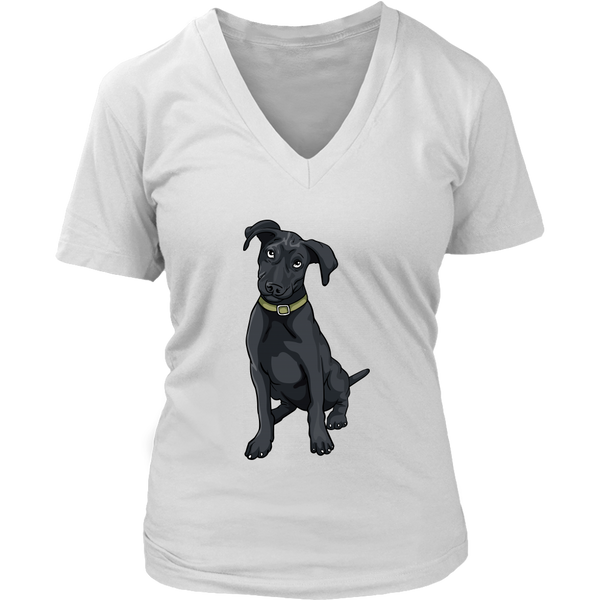 Black Labrador V Neck Shirts for Women, Funny Gift for Cute Dog Lovers