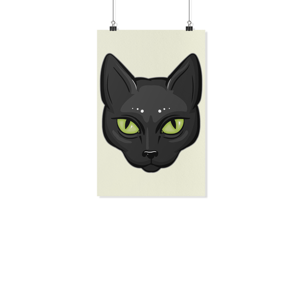 Black Cat Face Wall Poster, Gifts for Cat Lovers