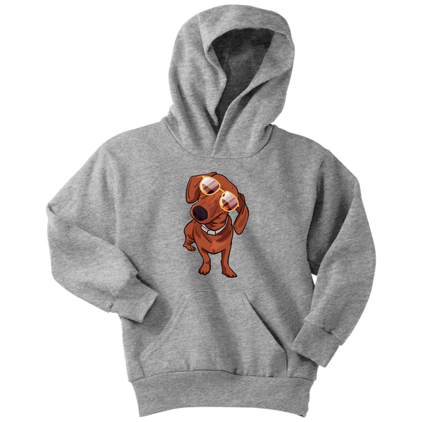 Dachshund wth Sunglasses Funny Youth Hoodie, Gifts for Dog Puppy Lovers