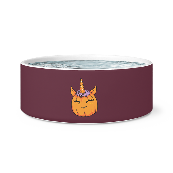 Unicorn Pumpkin Halloween Pet Dog Bowl, Gifts for Trick Treat Costume Party