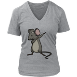 Dabbing Mouse Rat V Neck Shirt for Women, Gifts for Rodent Lovers