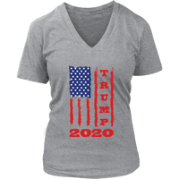 Trump 2020 USA Flag V Neck Shirt for Women, Gifts for Republicans Conservative