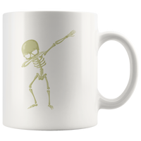 Halloween Skeleton Dabbing White Coffee Mug 11oz, Gifts for Trick Treat Skull Party