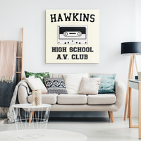 Hawkins High School Wall Decor Canvas, Christmas Gifts for AV Club Lovers