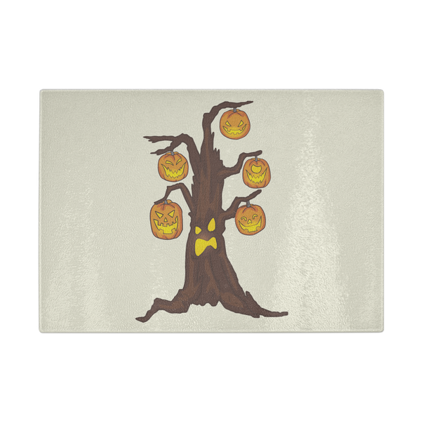 Halloween Pumpkin Tree Kitchen Cutting Board, Gifts for Candy Treat Scary Trick