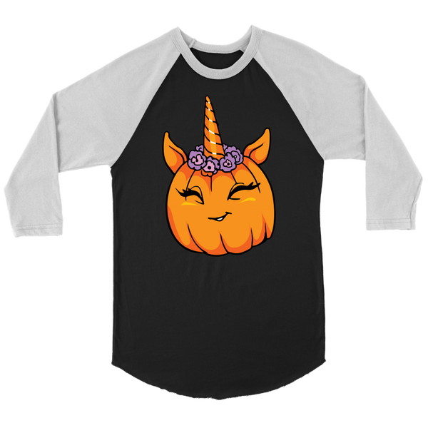 Unicorn Pumpkin Halloween Raglan Shirt, Gifts for Trick Treat Costume Party