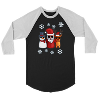 Santa Snowman Reindeer Raglan Shirt, Christmas Gifts for Snow Lovers