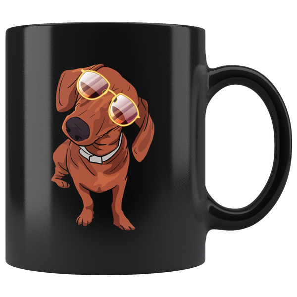 Dachshund wth Sunglasses Funny Black Coffee Mug, Gifts for Dog Puppy Lovers