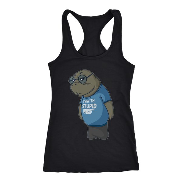 Manatee  Im With Stupid Commercial Novelty Racerback Tank Top for Women