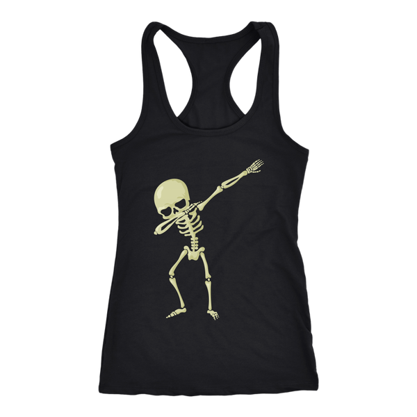 Halloween Skeleton Dabbing Racerback Tank Women, Gifts for Trick Treat Skull Party