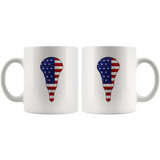Lacrosse USA Flag White Coffee Mug 11oz, Gifts for Lacrosse Players Sports Lovers