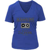 Hawkins Middle School Cassette V Neck Shirts for Women