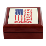 Trump 2020 USA Flag Jewelry Box, Gifts for Republicans Conservative