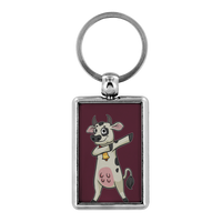 Dabbing Cow Keychain for Men Women Key Chain, Gifts for Farm Animal Lovers
