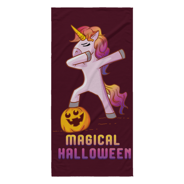 Dabbing Halloween Unicorn Beach Towel, Gifts for Pumpkin Candy Treat Scary Trick