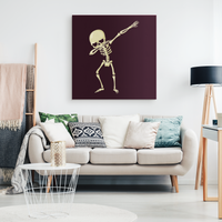 Halloween Skeleton Dabbing Wall Decor Canvas, Gifts for Trick Treat Skull Party