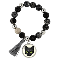 Black Cat Face Bracelet, Gifts for Cat Lovers