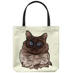 Balinese Cat Tote Reusable Grocery Bag, Cat Lover Gifts 9186A