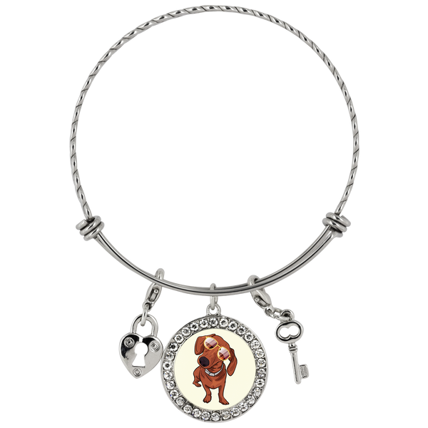 Dachshund wth Sunglasses Funny Bracelet, Gifts for Dog Puppy Lovers