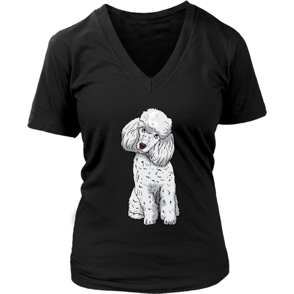 Poodle V Neck Shirts for Women, Funny Gift for Cute Dog Lovers