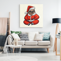 Santa Sloth Wall Decor Canvas, Christmas Gifts for Sloth Lovers