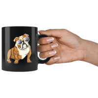 Bulldog Black Coffee Mugs, Cute Gift for Cute Dog Lovers