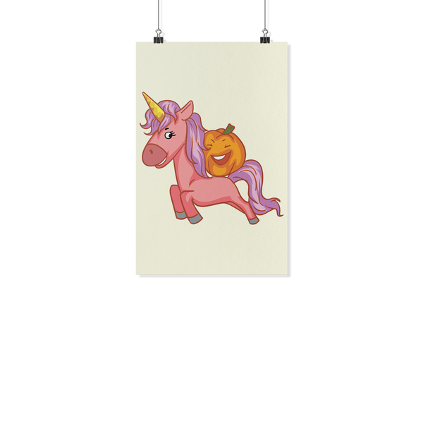 Halloween Unicorn Pumpkin Wall Poster, Gifts for Trick Treat Party