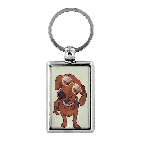 Dachshund wth Sunglasses Funny Keychain for Men Women Key Chain, Gifts for Dog Puppy Lovers