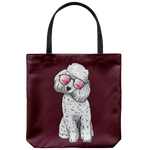 Poodle Dog Sunglasses Funny Tote Reusable Grocery Bag, Gifts for Dog Puppy Lovers