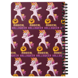 Dabbing Halloween Unicorn Journal Diary Spiralbound Notebook, Gifts for Pumpkin Candy Treat Scary Trick