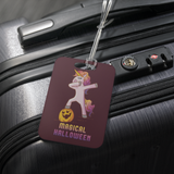 Dabbing Halloween Unicorn Luggage Tag, Gifts for Pumpkin Candy Treat Scary Trick