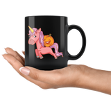 Halloween Unicorn Pumpkin Black Coffee Mug, Gifts for Trick Treat Party