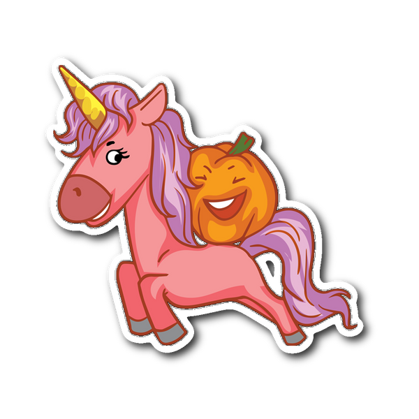 Halloween Unicorn Pumpkin Sticker for Car Bumper, Gifts for Trick Treat Party